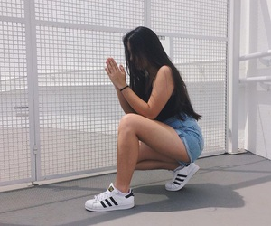 hair, shoes, and adidas image