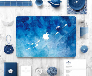 blue, apple, and macbook image