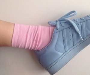 pink, blue, and adidas image