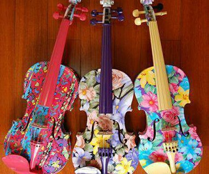 violin, music, and flowers image