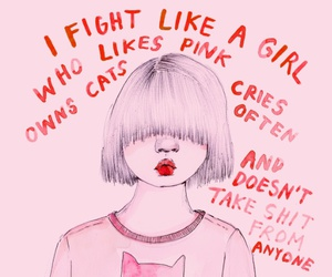girl, pink, and cats image