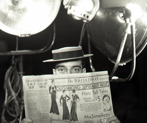 black and white, broadway, and newspaper image