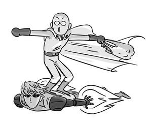one punch man, saitama, and genos image
