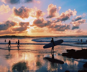 sunset, beach, and surf image