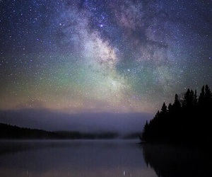 sky, stars, and lake image