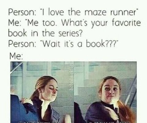 book, the maze runner, and divergent image