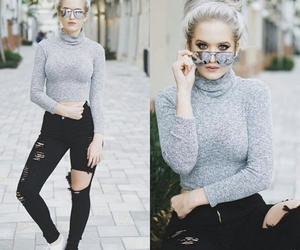 black jeans, grey, and turtle neck image