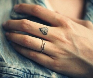tattoo, diamond, and fingers image