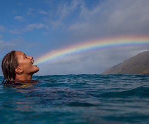 rainbow, girl, and sea image
