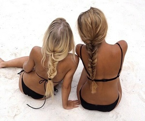 beach, braids, and relax image