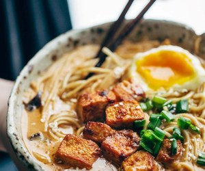 ramen, egg, and food image