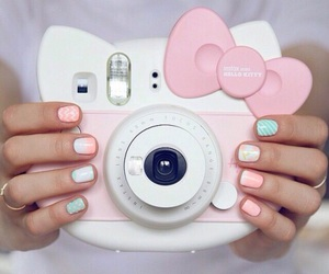 hello kitty, camera, and pink image