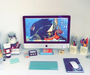 apple, work space, and desk image