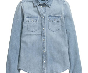 button up, denim, and H&M image