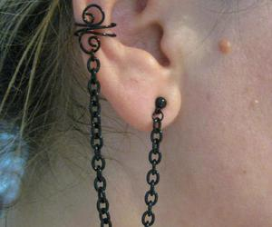 black, earrings, and fashion image
