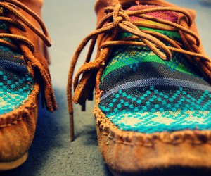 shoes, moccasins, and aztec image