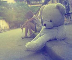 girl, bear, and alone image