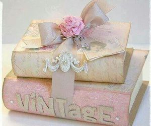 vintage, book, and pink image