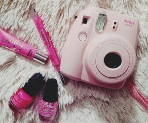 pink, lipstick, and polaroid image