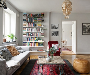 beautiful, living area, and books image