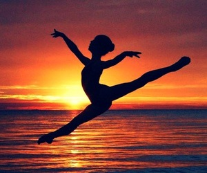 girl, ballet, and sunset image