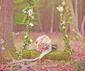 flowers, rose, and swing image