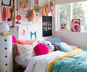 bed, colorful, and inspire image