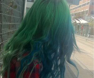 green hair and teal hair image