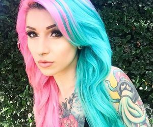 hair, pink, and Tattoos image