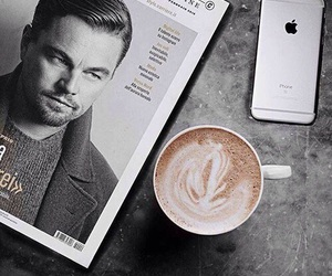 coffee, iphone, and leonardo dicaprio image
