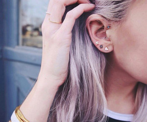 hair, piercing, and earrings image