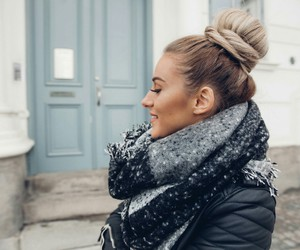 fashion, scarf, and bun image
