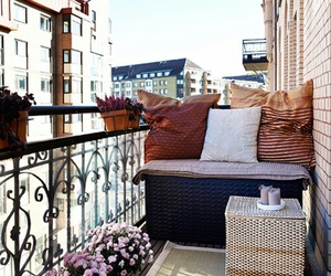 balcony, home, and flowers image