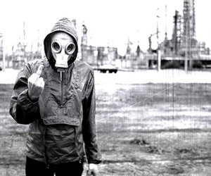 black and white, Close your eyes, and gas mask image