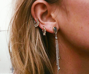earring, gold, and hair image