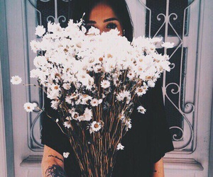 flowers, girl, and white image