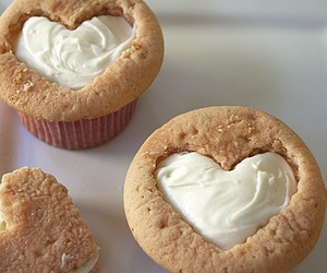 cupcake, heart, and food image