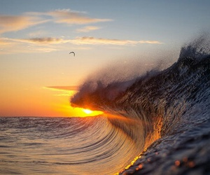 ocean, waves, and sunset image