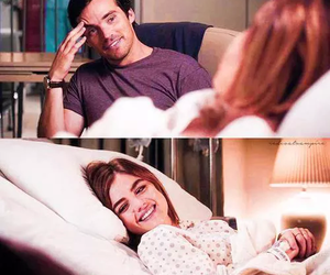 lucy hale, ezra fitz, and pretty little liars image