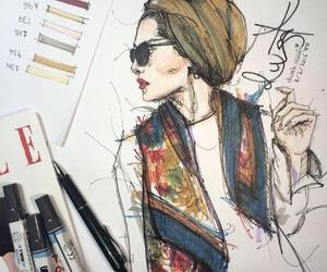 blogger, hijab, and sketch image