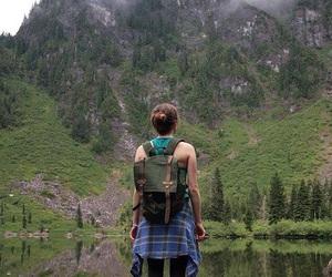girl, green, and mountain image