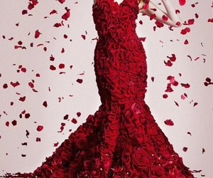 dress, rose, and red image