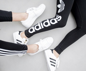 adidas, black and white, and cool image