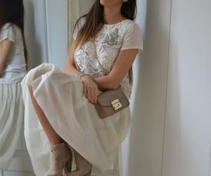 ankle boots, lace, and romantic image