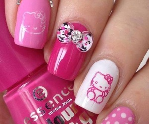 nails, pink, and hello kitty image