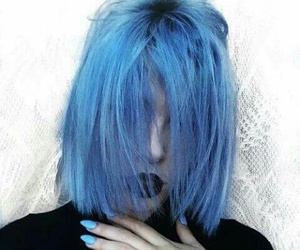 grunge, hair, and blue image