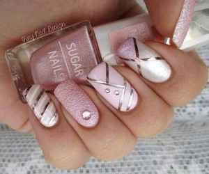nails, pink, and bomb image