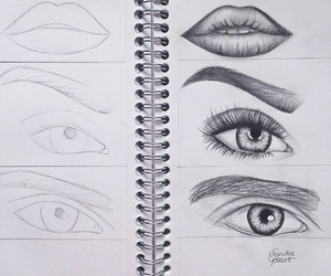 drawing, lips, and eyes image