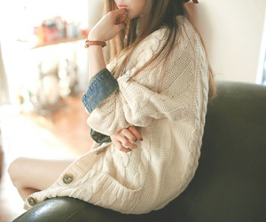 cardigan, girl, and white image
