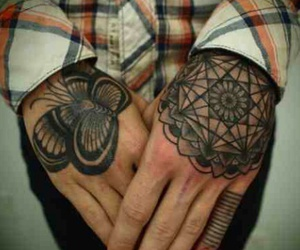 tattoo, hands, and butterfly image